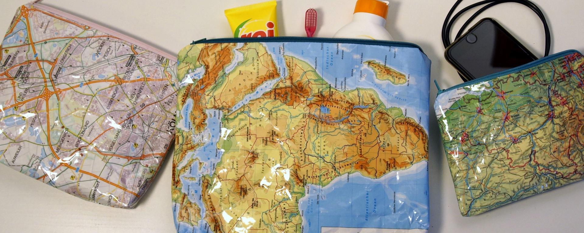 Taschen Aus Landkarten Trulliblume